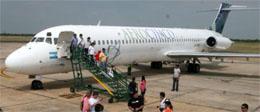 Llegada del primer vuelo de Aerochaco al aeropuerto de Resistencia. (Foto gentileza Diario Norte)